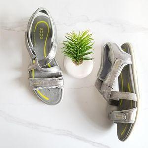 Ecco Bluma Strap Comfort Sandals Adjustable Silver